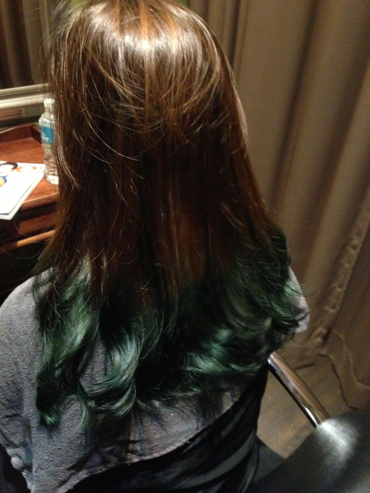 Brown And Turquoise Hair Reno applied ash brown as